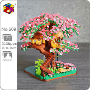 LJ Architecture Sakura Tree House Garden River Mini Diamond Blocks Building Toy