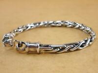 "New Byzantine Bali Borobudur 925 Sterling Silver Bracelet Chain 4mm 6.75"" 17g"