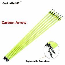 "12pcs 30"" Archery Carbon Arrows Plastic Vanes Spine 500 Fit Bow Hunting"