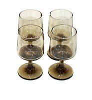 VINTAGE NEW MID-CENTURY SET OF 4 LIBBEY TAWNY ACCENTS 8 OZ WINE GLASSES