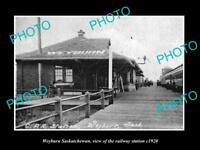 OLD LARGE HISTORIC PHOTO OF WEYBURN SASKATCHEWAN, RAILROAD DEPOT STATION c1920