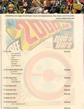 2000AD Judge Dredd Prog 1 to 400 1st Appearances, Key issues & Gifts PDF List