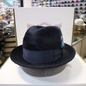 BILTMORE HAMILTON NAVY LONG HAIR FUR FELT FEDORA DRESS HAT