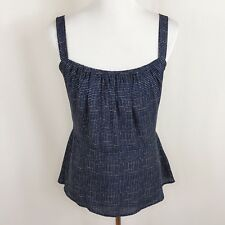 CAbi Women Size 10 Blue White Tank Top Blouse Stretch Ruched Summer Sun