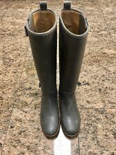 """HERMES """"Land"""" Gray Leather Tall Riding Boots"""