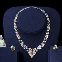 CWWZircons Multi Color Cubic Zirconia Choker Wedding Necklace Earrings Sets