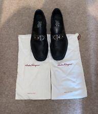 Salvatore Ferragamo Black Leather Shoes Men's Master Loafers Authentic Size 9 Uk