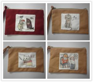 Cute Cotton Canvas Small Zipper Wallet Bag Purse Coin Key Phone Holder Girl-Cats