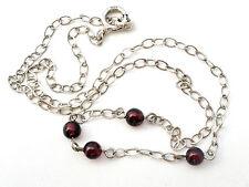 "Purple Garnet Bead Sterling Silver Necklace Gemstone Vintage 12.5"" Girls Junior"