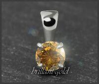 Diamant Anhänger 585 Gold, Brillant 0,29ct, orange, natürliche Farbe! Weißgold
