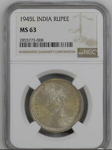 1945L British-India One rupee. NGC MS63