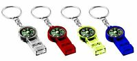 4pcs Survival Whistle Compass for Camping Hiking Outdoor Emergency Tool