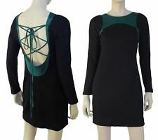 GEOFFREY BEENE Vintage Black Wool Blend Mini Dress Laced Back S RARE
