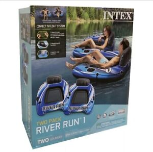 *NEW* Intex River Run 1 Sports Lounge Inflatable Floating Tubing Tube (2 PACK)