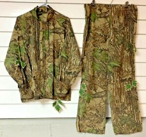 Vintage SPARTAN Realtree Camo THIN Lightweight Hunting Shirt Pants Leaves Suit M