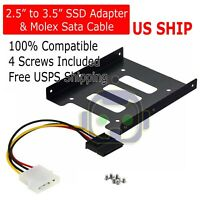 "2.5"" to 3.5"" Bay SSD Metal Hard Drive HDD Mounting Bracket Adapter Tray & Cable"