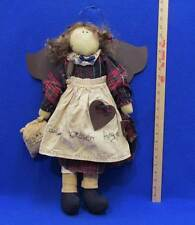 Primitive Rag Doll Cookie Kitchen Angel Plaid Fabric Metal Wings Wall Hanging