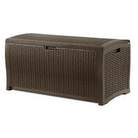 Suncast DBW7300 73 Gallon Resin Wicker Outdoor Patio Storage Deck Box, Mocha