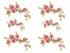 Vintage Image Victorian Shabby Pink Rose Swag Vine Transfers Decals FL360