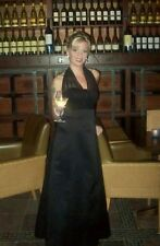 PROM DRESS Davids Bridal Black Full Length A-line Halter Top Size 4