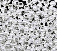 2000 Versilbert rund Quetschperlen Perlen Beads 2.4mm
