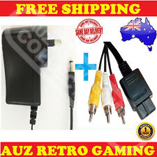 Power Supply Adapter + PAL RCA AV TV Cable Cord For SNES Super Nintendo