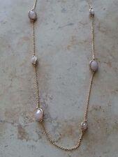 Kate Spade Park & Lex Station Necklace, Rose Quartz, Pink/Gold, NWT $128