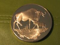 East African Wild Life Society Wildebeests Franklin Mint Bronze Medal