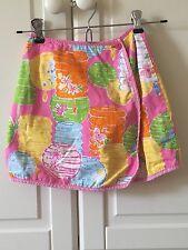 Lilly Pulitzer Reversible Skirt, Girls Size 6X, Chinese Lanterns, Elephants Lion