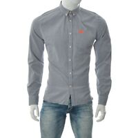 Superdry Union Made Men's Button Down Chambray Shirt Pocket Long Sleeve Grey L