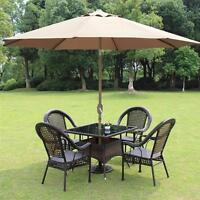 8' ft Patio Umbrella Aluminum Crank Tilt Table Market Outdoor Yard Beach Tan