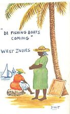 """Foreign Postcard c1940s WEST INDIES """"De Fishing Boats"""" Cartoon DWIT Signed 15"""