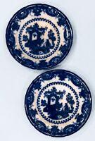 """Pr. 1845 Flow Blue T.J. &J. Mayer OREGON Oriental Asian Porcelain 9 1/2"""" Plates"""