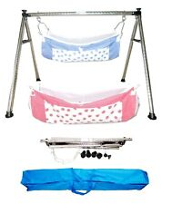 Smart Folding Steel Cradle Round Pipe with two cotton hammock KTQ50