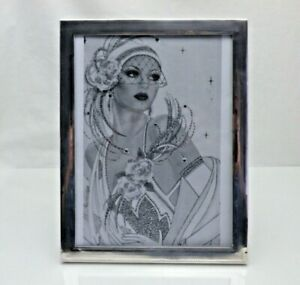 Antique Art Deco Solid Silver Photo Frame Wooden Easel Back (1697/C/ESY)