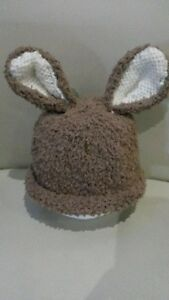 Brown baby bunny hat