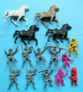 7 Vintage 1960s Lido Toys 54mm plastic toy American Civil War soldiers 4 horses