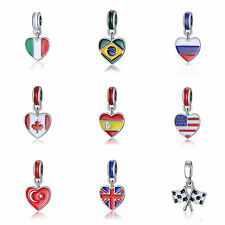 Country Heart Flag Enamel Dangle Bead Fit European 925 Silver Charms Bracelet