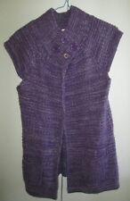 Ladies Funky Babe Size 12 Purple Fleck Knit Top Sleeveless Drape Front