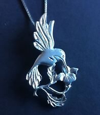 Hummingbird Pendant Necklace Sterling Silver Vintage Jewelry