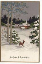 uralte AK Weihnachtskarte verschneite Dorfkirche Reh im Wald Golddruck //34