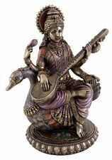 "8.5"" Hindu Goddess Saraswati on Swan Statue Sculpture Figurine Sarasvati"
