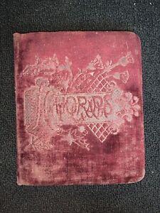 Victorian Velvet Autographs Book Waterloo Iowa 1890s Ida Close