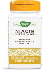 Nature's Way Niacin 100mg 100 Capsules Nicotinic Acid Energy Mood Support USA*