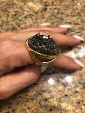 Marcia Moran Black/Gold  Quartz Ring.,Size 7.5 .. 18 K Shower Gold .final Sale