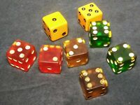 8 Vintage Bakelite Gaming Lot of Dice Yellow Green Butterscotch Cherry Amber