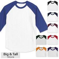 Big Men's Baseball 3/4 Sleeve Raglan T-Shirt 3XL 4XL 5XL 6XL Whites #590