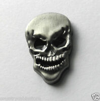 Evil Laughing Skull lapel pin pewter 1 inch