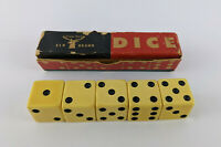 "Elk Brand Dice - Vintage 5 Die Set - Large 3/4"" inch - for Games Craps"