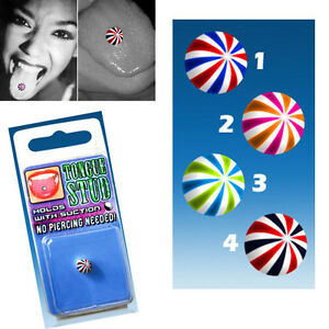 Suction Hold Illusion UV Design Spiral Ball Tongue Stud Fake Piercing 4 Colors